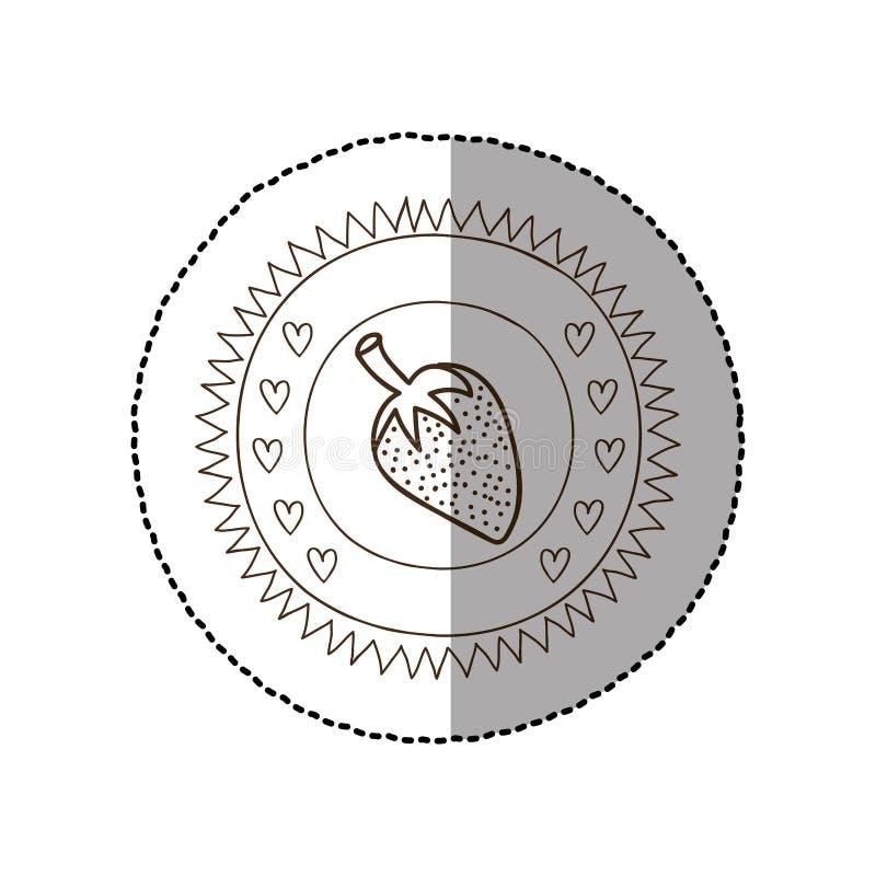 Quadro circular monocromático com etiqueta média da sombra com morango ilustração royalty free