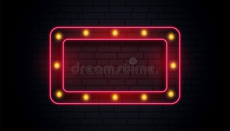 Quadro clássico vazio do sinal de néon ilustração stock