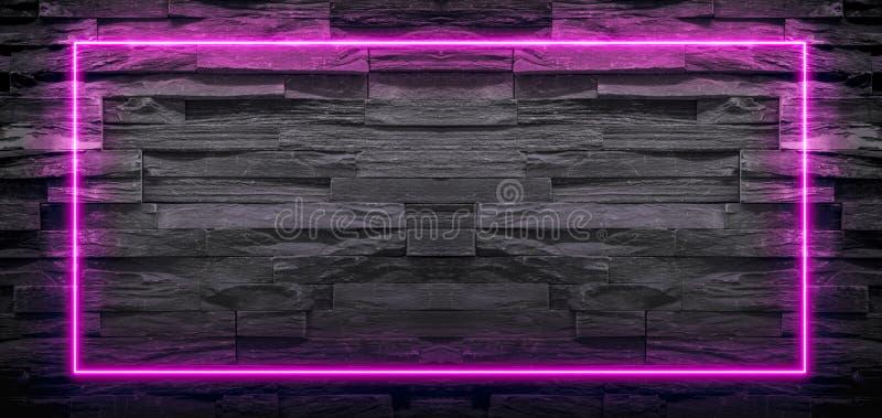 Quadro claro de néon do rosa no fundo de pedra imagens de stock royalty free