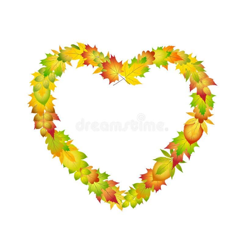 Quadro colorido brilhante do coração das folhas de outono para o projeto na ilustração branca, conservada em estoque do vetor ilustração stock