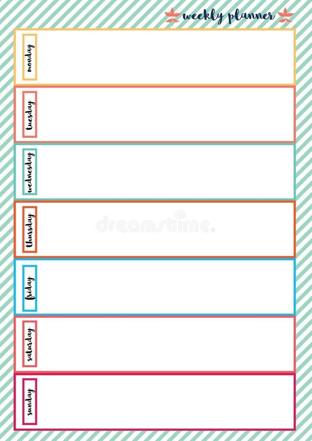 Quadro colorido do planejador semanal ilustração do vetor
