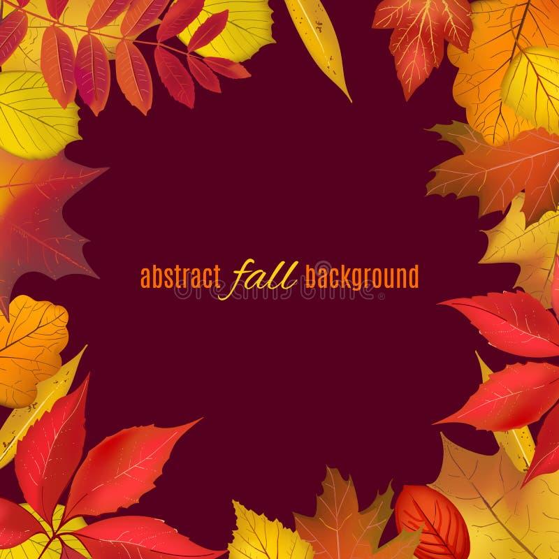 Quadro colorido outono da folha para seu projeto Folhas de queda brilhantes isoladas na beira marrom com lugar para seu texto Ill ilustração do vetor
