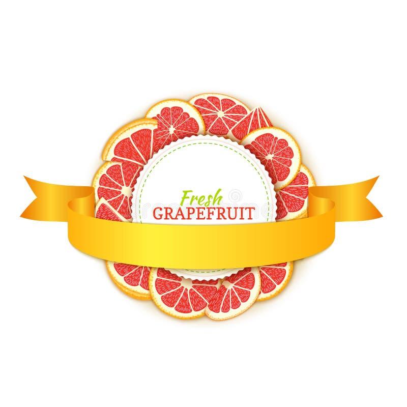 Quadro colorido redondo composto da fita do fruto e do ouro da toranja Ilustração do cartão do vetor Etiquete o pomelo do vermelh ilustração do vetor
