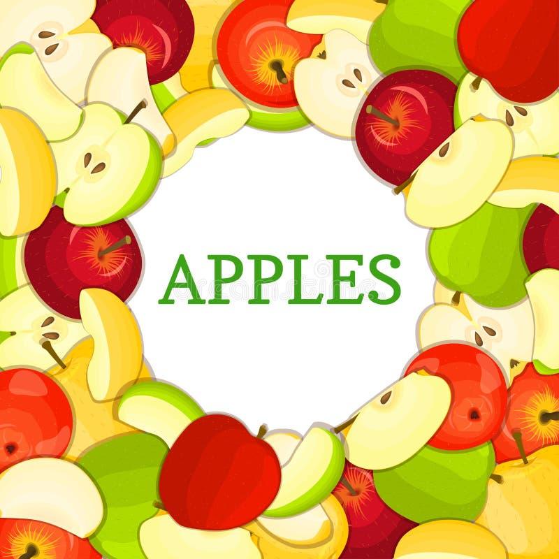 Quadro colorido redondo composto das maçãs Ilustração do cartão do vetor Circunde a maçã fresca inteira, descascado, parte meia,  ilustração stock