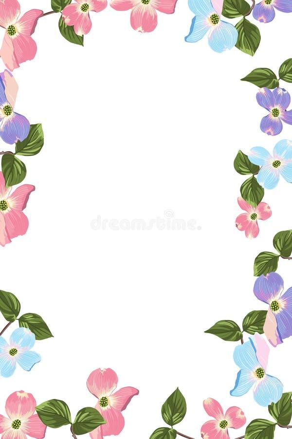 Quadro colorido verde do quadrado do projeto do vetor do verão da mola flores e folhas coloridas da magnólia ilustração stock