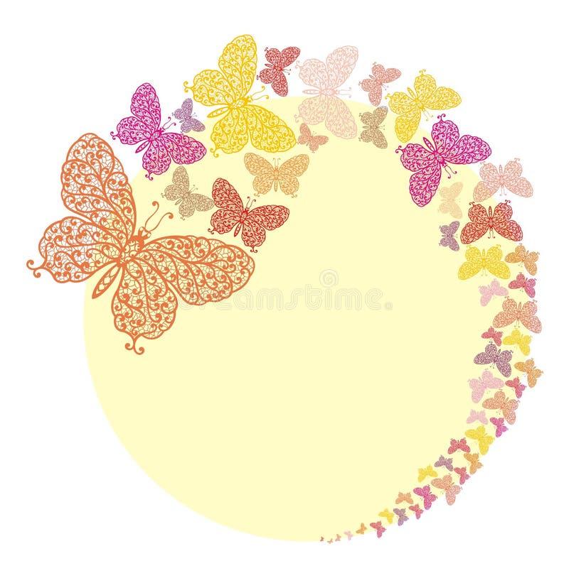 Quadro com as borboletas em yelloy ilustração royalty free