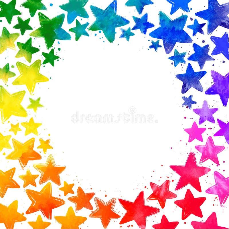 Quadro com as estrelas coloridas tiradas mão da aquarela ilustração do vetor