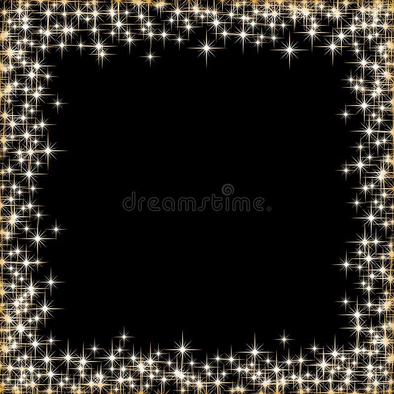 Quadro com as estrelas douradas no fundo preto, símbolos dourados dos sparkles - star o brilho, alargamento estelar ilustração royalty free