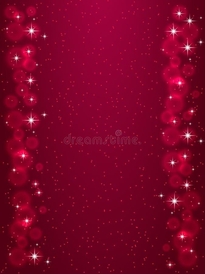 Quadro com as estrelas na obscuridade - fundo vermelho, símbolos dourados dos sparkles - star o brilho, alargamento estelar ilustração do vetor