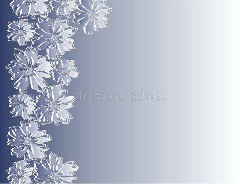 Quadro com as flores abstratas no fundo azul fotos de stock royalty free
