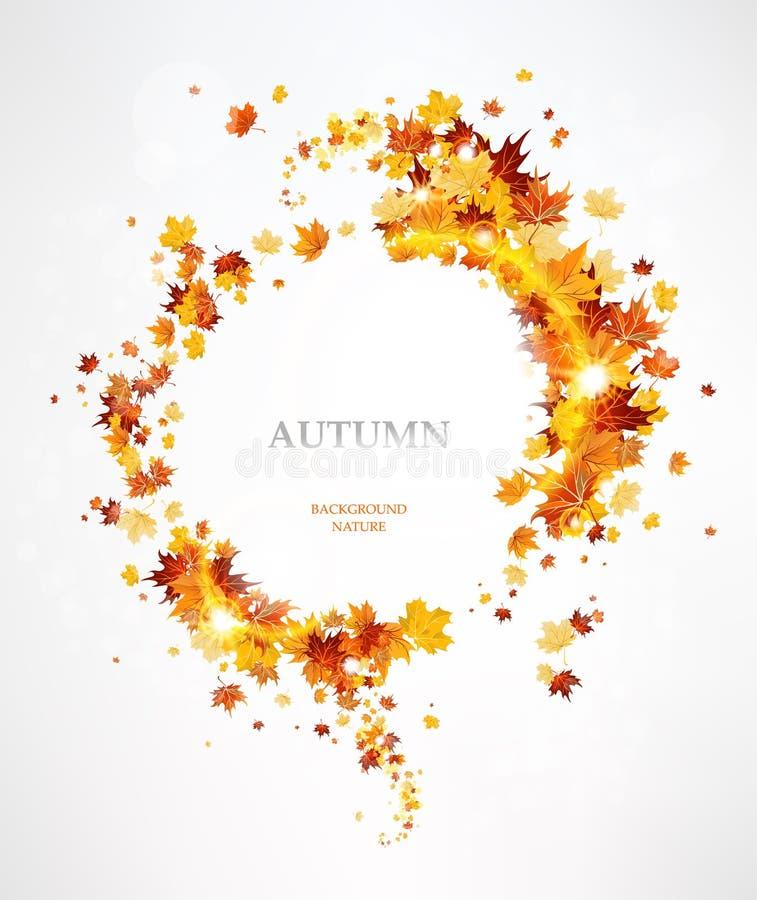 Quadro com as folhas de outono bonitas ilustração do vetor