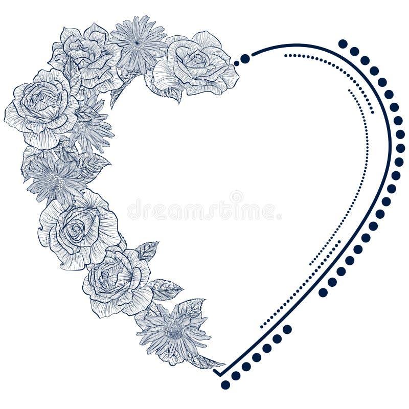 Quadro com as rosas na forma do coração ilustração royalty free