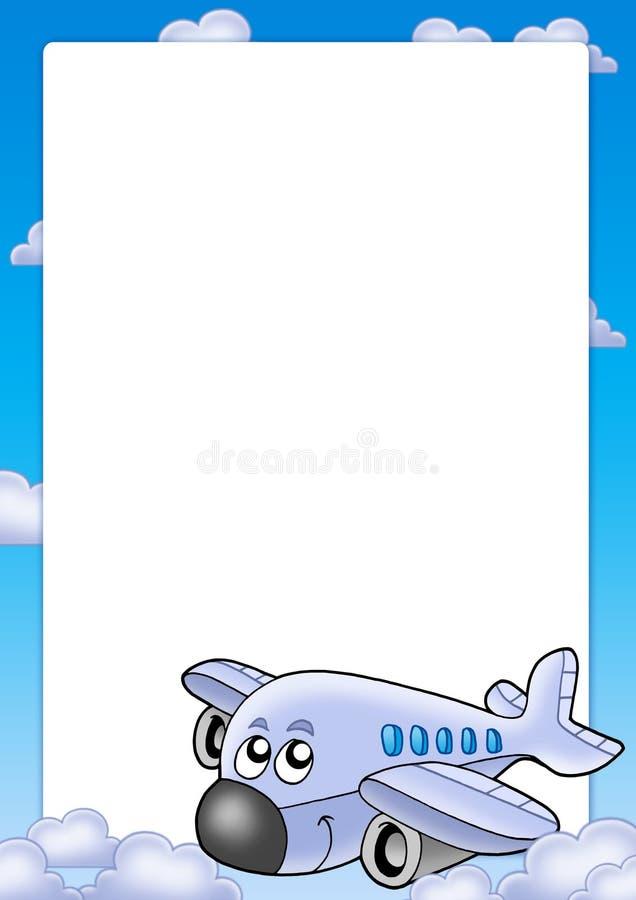 Quadro com avião bonito e nuvens ilustração royalty free