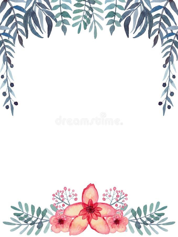 Quadro com bagas da aquarela, as folhas tropicais brilhantes das flores, as verdes e do azul ilustração royalty free