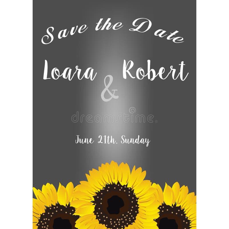 Quadro com cartão de sunflowers Elementos decorativos do design floral da coleção Salvar a data, os convites do casamento, a fest ilustração royalty free