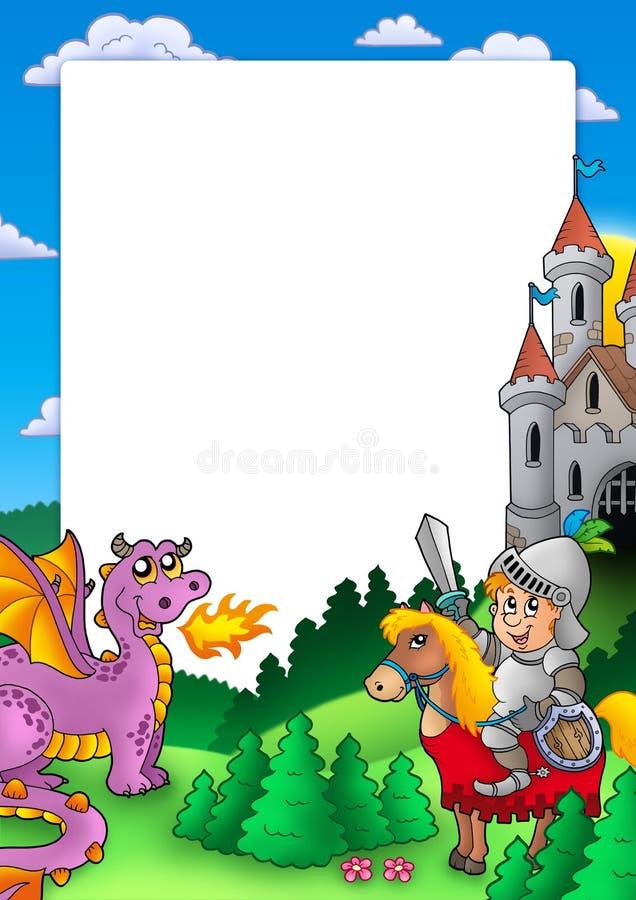 Quadro com cavaleiro e dragão ilustração stock