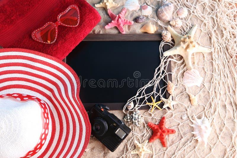 Quadro com conchas do mar imagens de stock