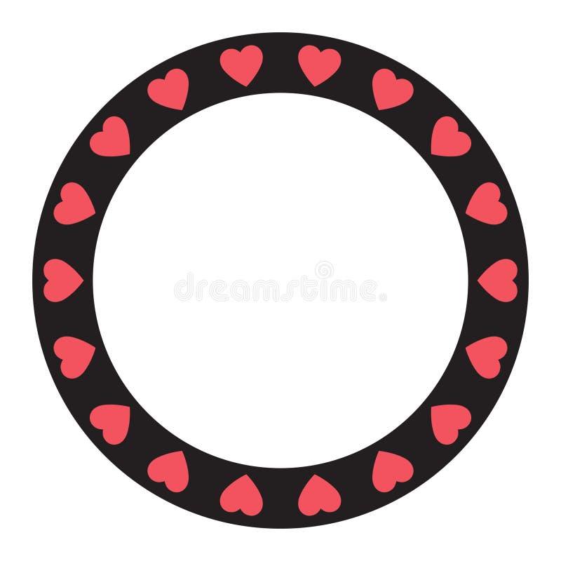 Quadro com corações, quadro do monograma do círculo para a decoração do dia de Valentim ilustração stock