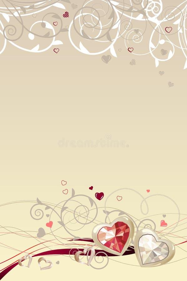 Quadro com corações do ouro ilustração royalty free