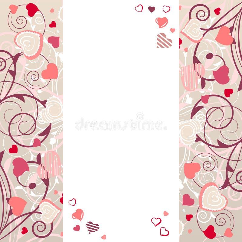 Quadro com corações estilizados ilustração stock