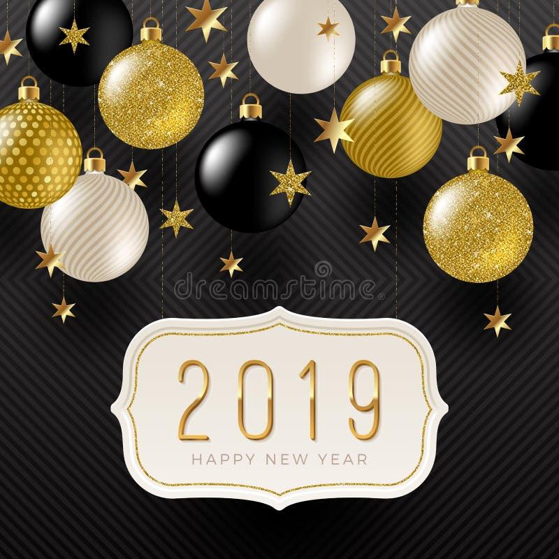 Quadro com cumprimento 2019 do ano novo, estrelas e quinquilharias douradas do feriado do ouro do preto, do branco e do brilho ilustração do vetor