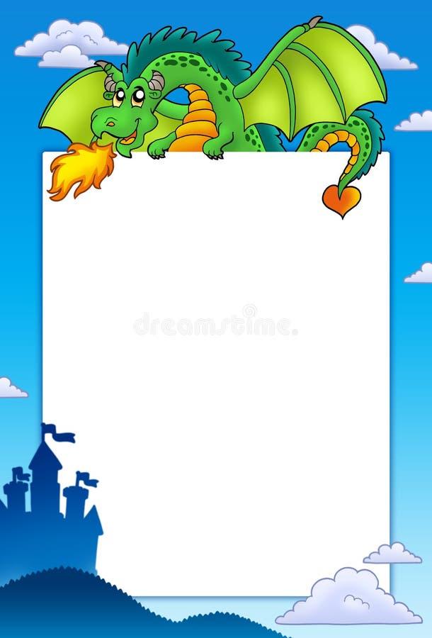Quadro com dragão verde e castelo ilustração stock