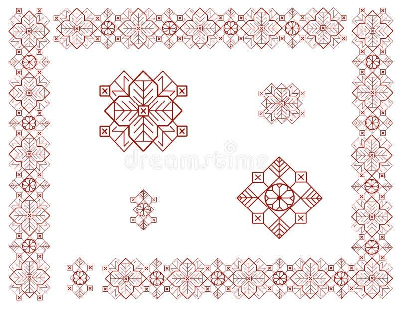 Quadro com elementos do ornamento letão ilustração do vetor