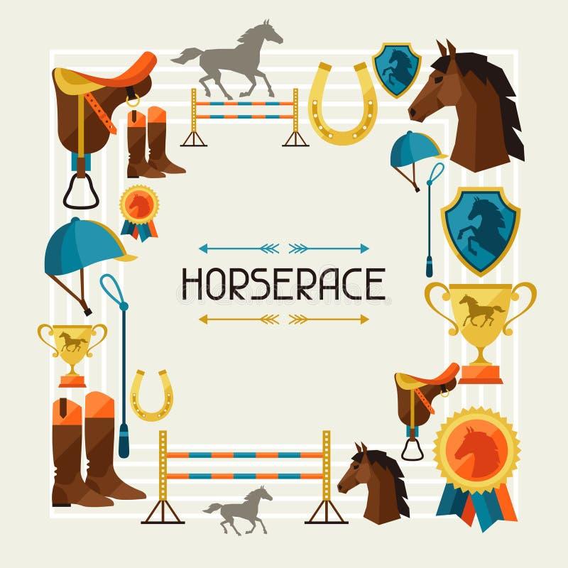 Quadro com equipamento do cavalo no estilo liso ilustração royalty free