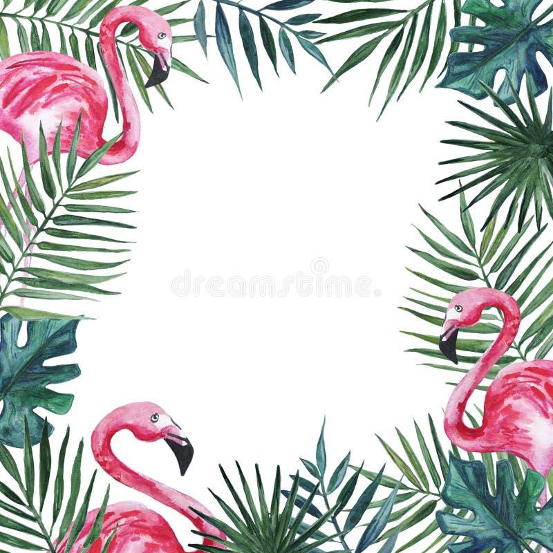 Quadro com flamingo e folhas de palmeira cor-de-rosa Ilustra??o da aguarela ilustração stock