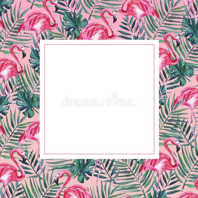 Quadro com flamingo e folhas de palmeira cor-de-rosa ilustração stock