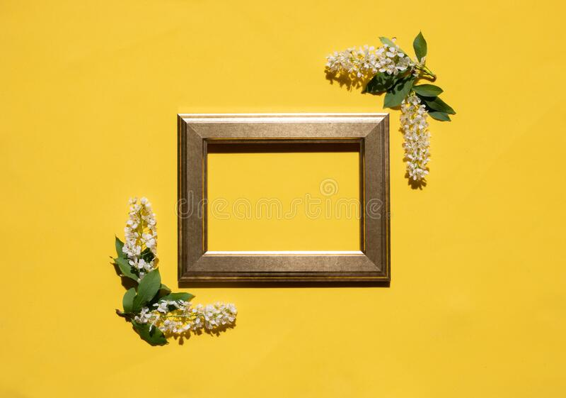 Quadro com flores brancas e folhas em fundo amarelo imagem de stock royalty free