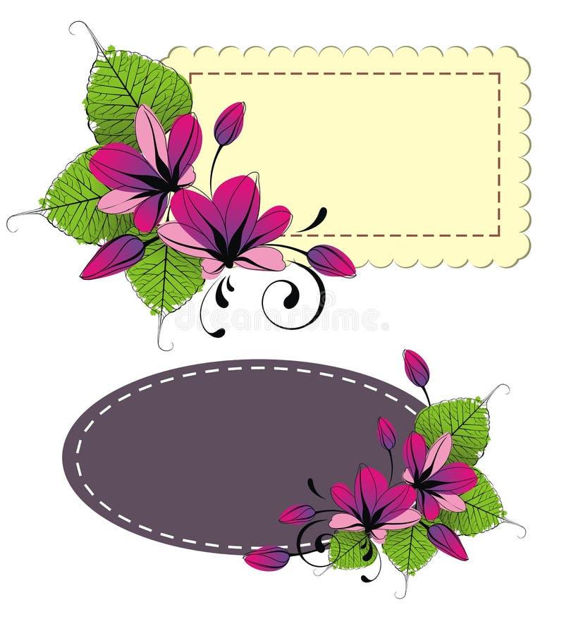 Quadro com flores frescas ilustração royalty free