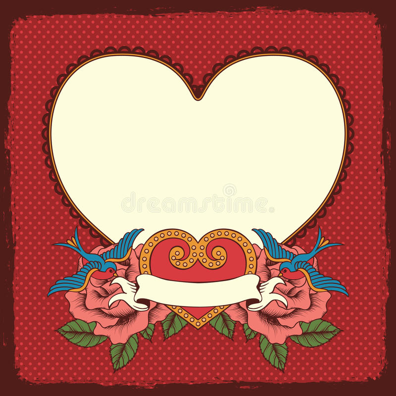 Quadro com flores, pássaros e coração ilustração stock