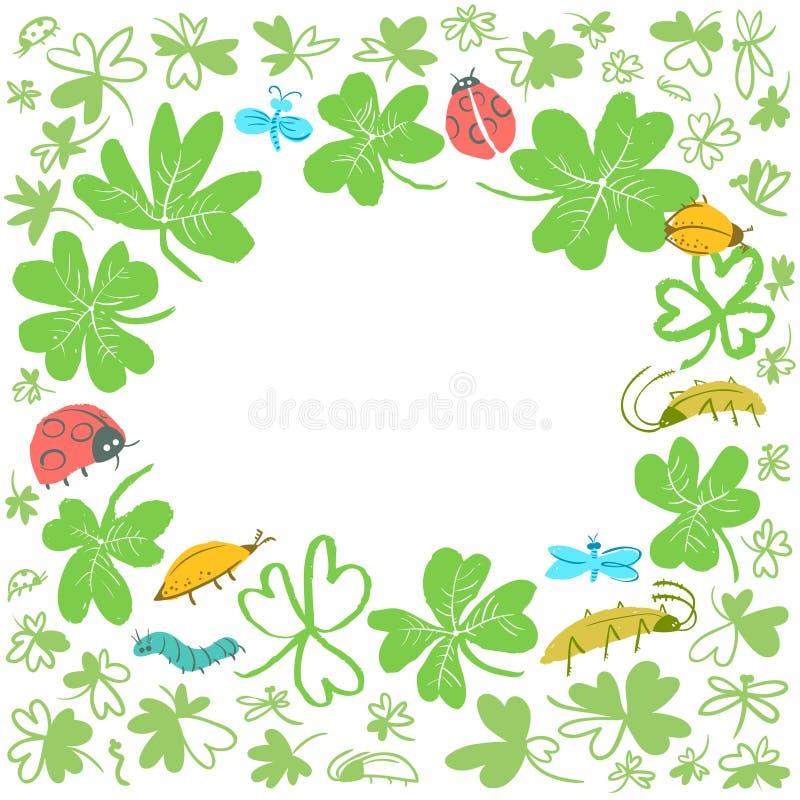 Quadro com folhas e insetos do trevo Fundo com erros bonitos, ilustração stock