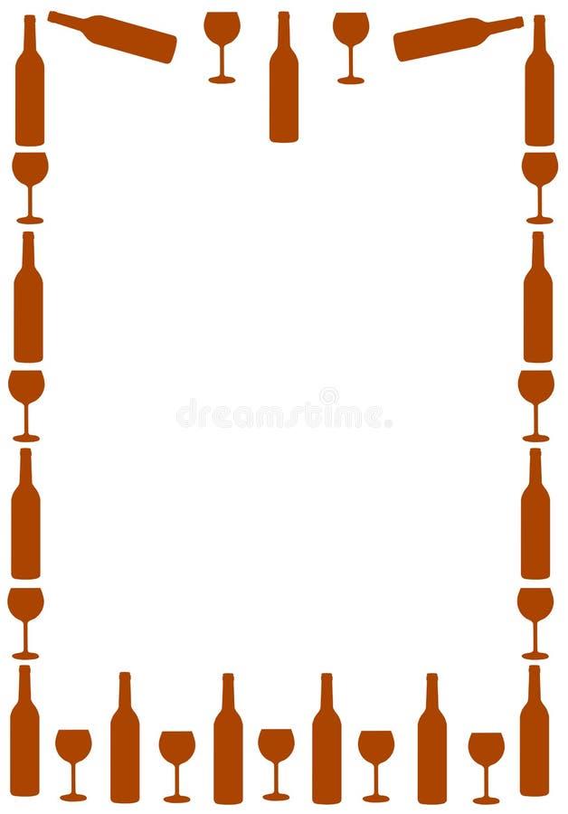 Quadro com garrafa e vidro de vinho ilustração royalty free