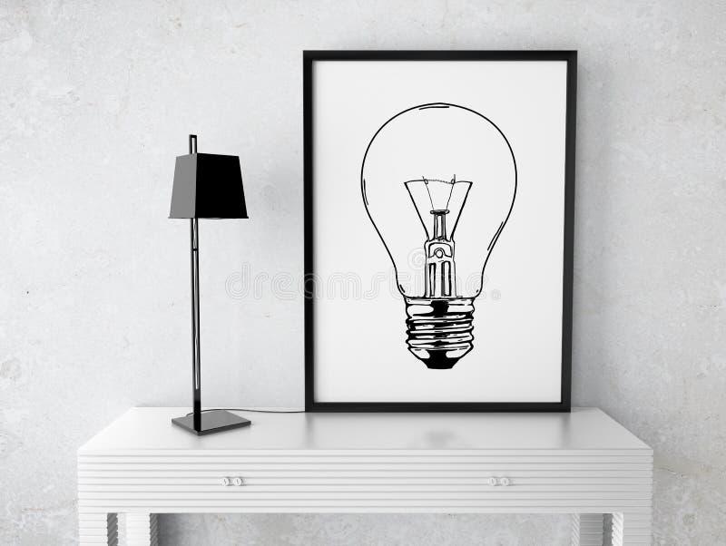Quadro com lâmpada do desenho imagens de stock