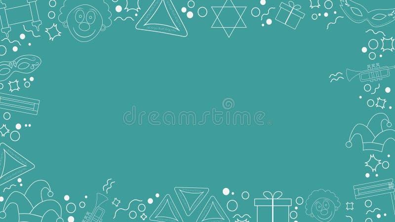 Quadro com linha fina branca ícones do projeto liso do feriado do purim ilustração do vetor