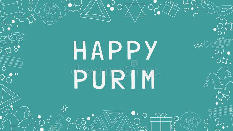 Quadro com linha fina branca ícones do projeto liso do feriado do purim com ilustração do vetor