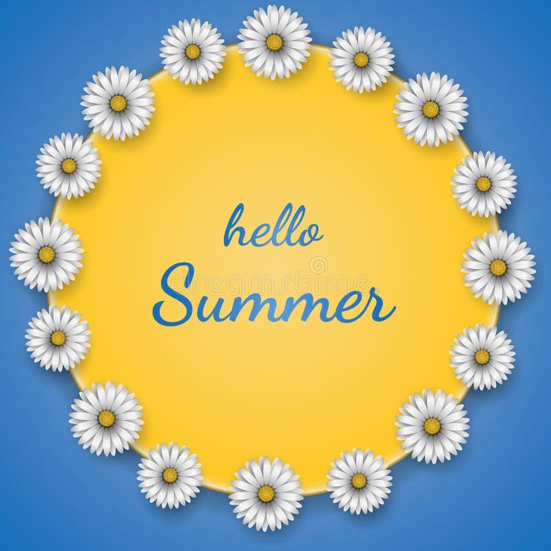Quadro com margaridas florais projeto e verão do texto olá! no fundo azul Ilustra??o do vetor ilustração do vetor