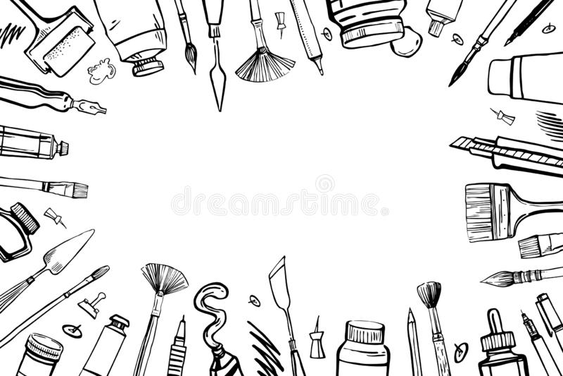 Quadro com materiais tirados mão do artista do vetor do esboço Ilustração estilizado preto e branco com as ferramentas da pintura ilustração do vetor