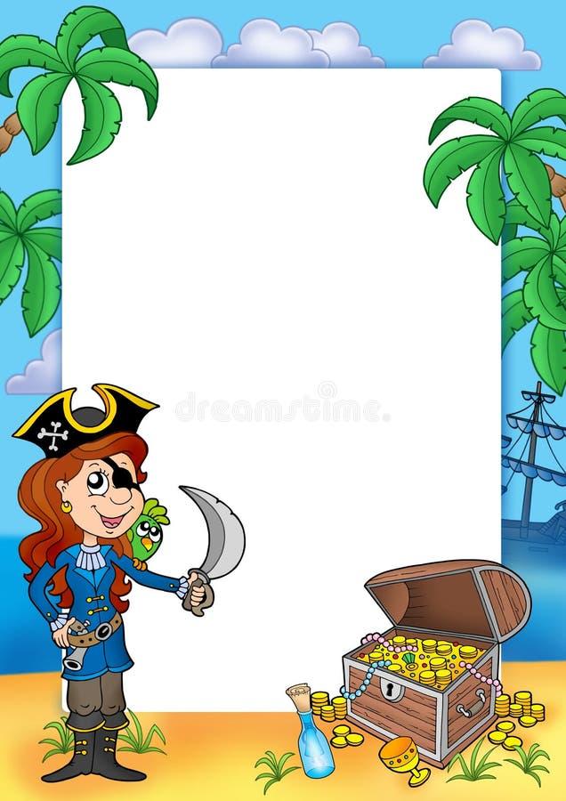 Quadro com menina do pirata e tesouro 2 ilustração royalty free