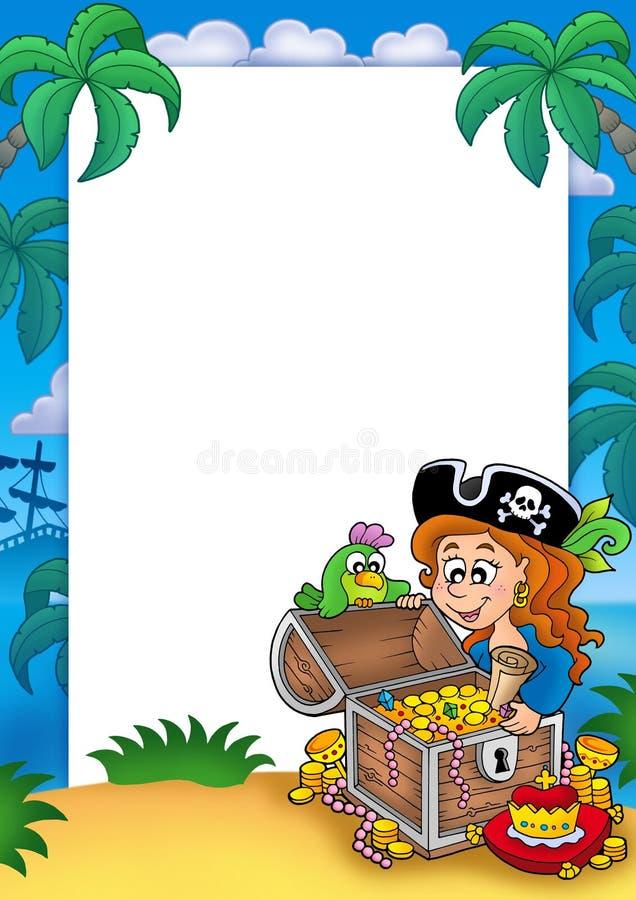 Quadro com menina e tesouro do pirata ilustração stock