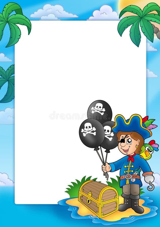 Quadro com menino do pirata ilustração royalty free
