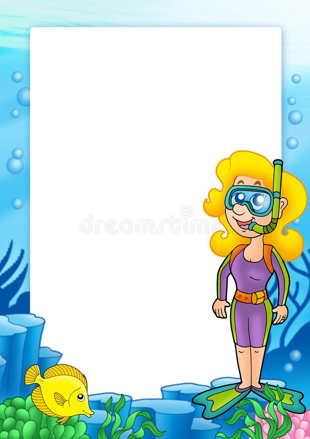Quadro com mergulhador 1 do snorkel ilustração royalty free
