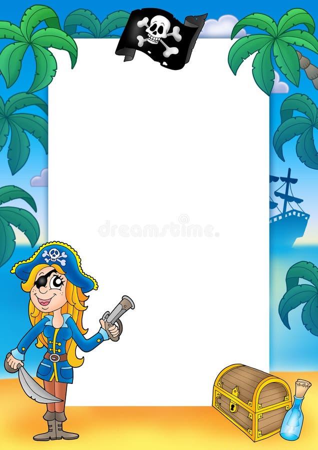 Quadro com mulher 2 do pirata ilustração royalty free