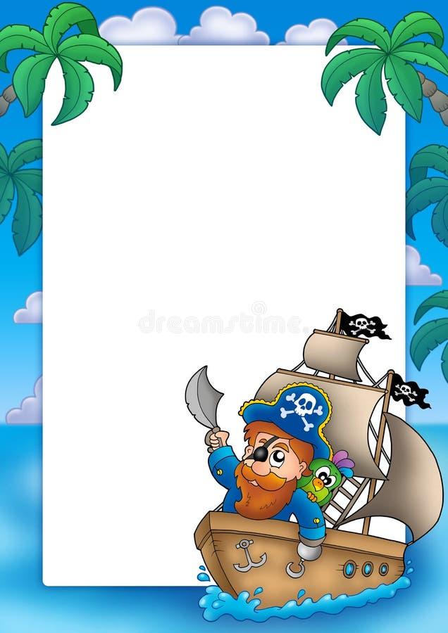 Quadro com navigação do pirata no navio ilustração stock