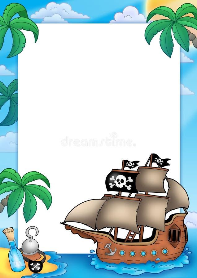 Quadro com navio de pirata ilustração stock