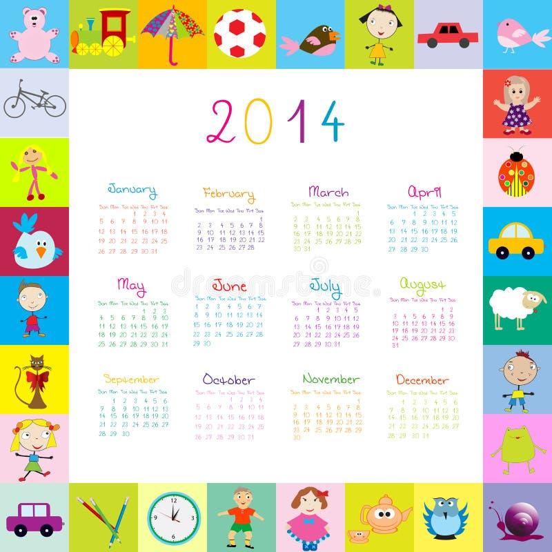 Quadro com o calendário 2014 com brinquedos ilustração do vetor