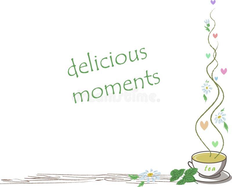 Quadro com o copo do chá e dos corações ilustração do vetor