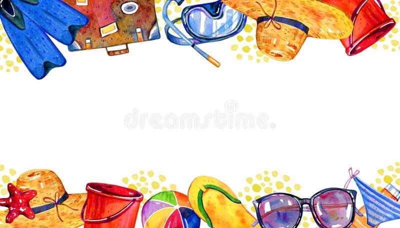 Quadro com objetos da praia em superior e em inferior - aletas, mala de viagem, bola, m?scara, cubeta, chap?u, vidros ilustração royalty free